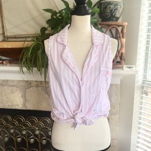 Laura Ashley baby pink stripe bow top